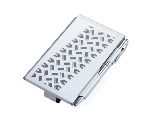 Flip Notes® Metalletui mit Clip für Sonnenblende TIRE TRACK VISOR