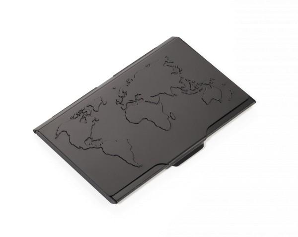 Estuche para tarjetas de visita con el mapa del mundo en relieve tallado en la tapa GLOBAL CONTACTS