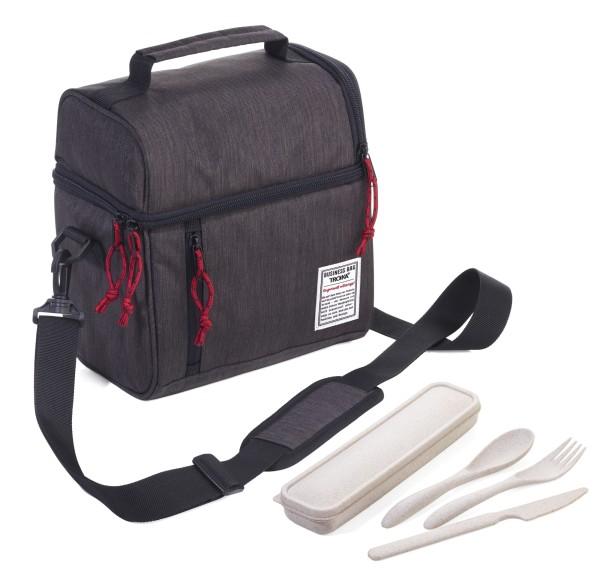Isoliertasche inkl. Besteck-Set (Messer, Gabel, Löffel, Aufbewahrungsbox) aus 50% Weizenstroh/50% PP