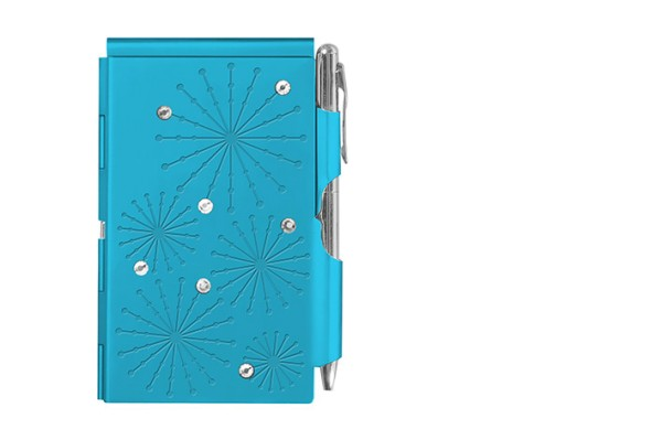 Estuche metálico Flip Notes® incl. bloc de notas de papel blanco GLITZ BRIGHT BLUE