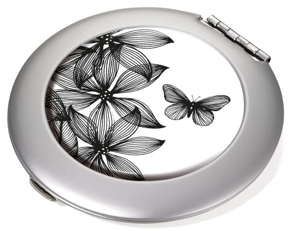 Taschenspiegel Spiegel und Vergrößerungsspiegel (1:2) BLACK FLOWERS