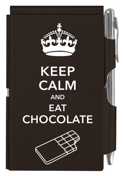 Flip Notes® Metalletui inkl. blanko Notizblock KEEP CALM CHOCOLATE