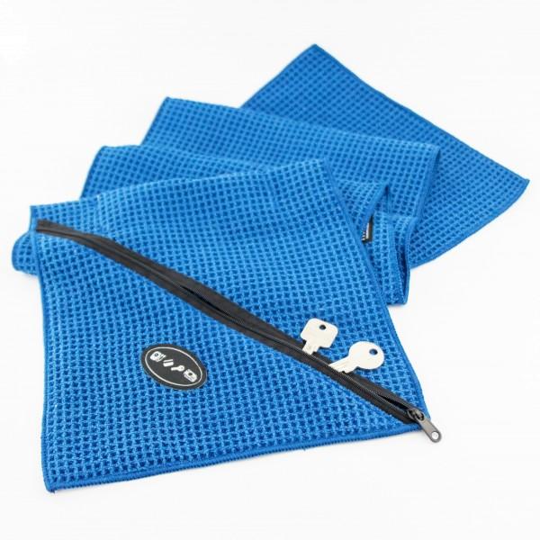 Fitness-Handtuch mit integrierter Zip-Tasche für MP3-Player/Smartphone, Schlüssel, Kreditkarte u.v.m