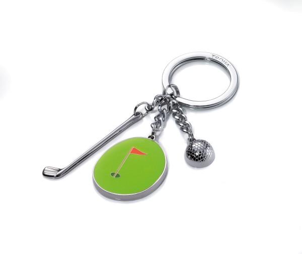 Schlüsselanhänger mit 3 typischen Golf-Anhängern HOLE IN ONE