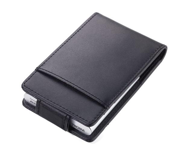 Kreditkartenetui inkl. Aluminiumfach mit Ausleseschutz (für RFID-Chips) BLACK & SILVER